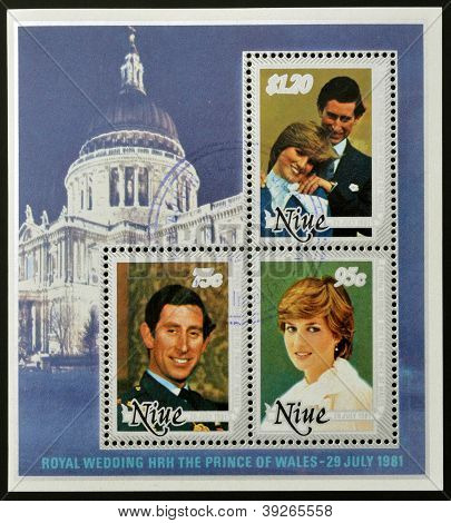 NIUE - CIRCA 1981: A collection stamps printed in Niue shows portraits of the Prince of Wales on the