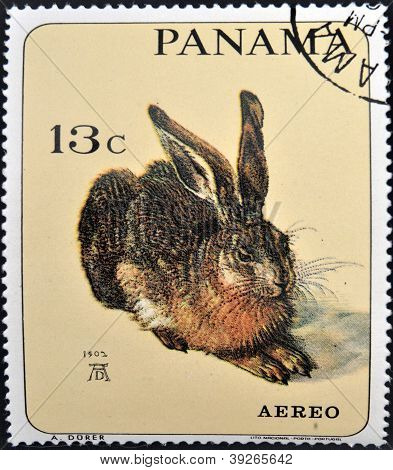 PANAMA - CIRCA 1965: A stamp printed in Panama shows the young hare by Albrecht D�rer circa 1965