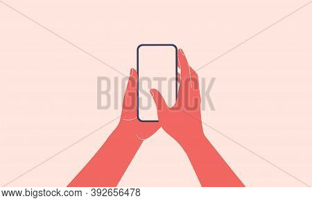 Human hands hold vertically mobile phone with blank screen. Females arm is touching smartphone display with thumb finger. Flat colorful cartoon vector illustration.