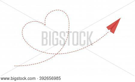 Heart Plane Path. Love Friendship Concept, Paper Airplane Flying. Isolated Red Aircraft Takes Off Ve