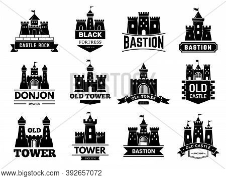 Ancient Castles Logo. Medieval Fortress With Towers Vector Badges Or Logotypes Set. Illustration Cas