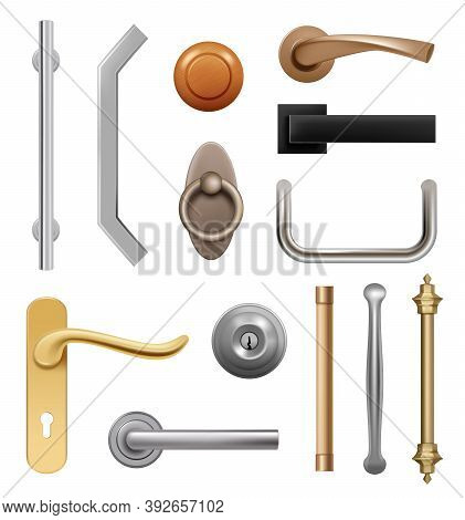 Door Handles. 3d Modern Furniture Wooden And Metal Items Interior Symbols Handles Vector Realistic.