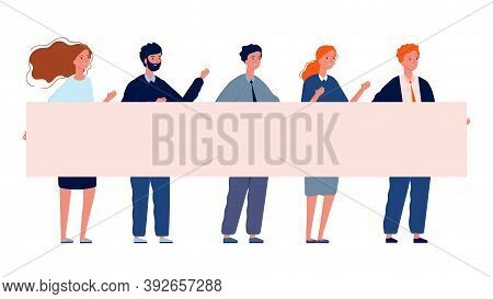 People With Banner. Protest, Demonstration Crowd Holding Placard Vector Illustration. Activism Meeti