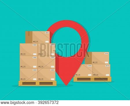 Cargo Logistic. Carton Boxes On Pallet For Delivery With Map Pointer. Goods Stack On Warehouse For S