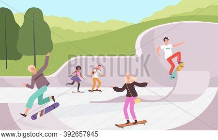 Skatepark. Outdoor Extreme Activities Skateboarders Lifestyle Urban Park Action Characters Vector Ba