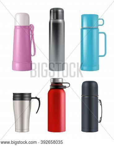 Thermos Mockup. Realistic Cup Round Containers Vacuum Flask For Liquid Products Vector 3d Set. Illus