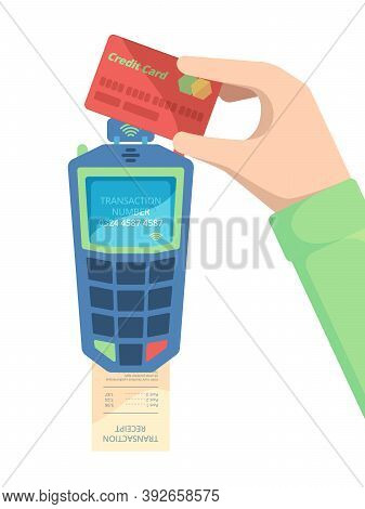 Pay Card Terminal. Hand Holding Debit Card With Nfc Module Money Transfer Payment Machine For Easy C