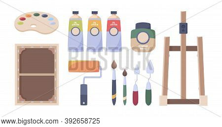 Artist Tools. Paints Brushes Oil Tubes Palette Canvas Easel Pencils Paper Hobby Accessories For Art