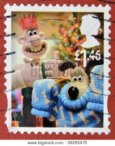 a stamp printed in Great Britain shows image of Gromit's Christmas pullover