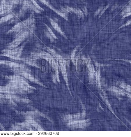 Seamless Indigo Mottled Texture. Blue Woven Boro Cotton Dyed Effect Background. Japanese Repeat Bati