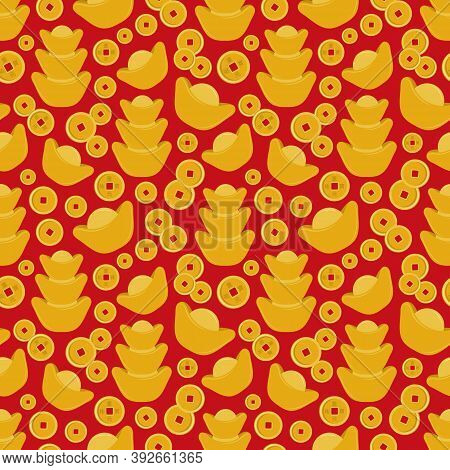 Big Chinese Gold Ingots Yuan Bao And Old Coins With Hieroglyphs Seamless Pattern. Happy Chinese New