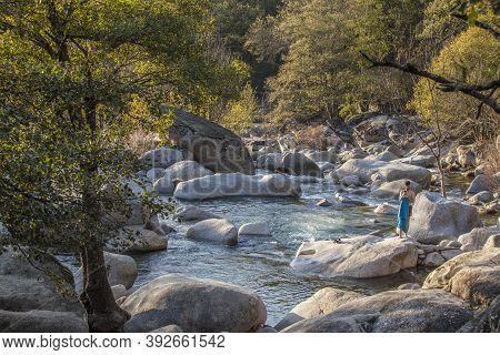 Caceres, Spain - Oct 31st, 2020: Swimmer At Los Pilones Gorge At Natural Reserve Garganta De Los Inf