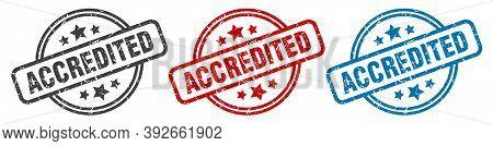 Accredited Stamp. Accredited Round Isolated Sign. Accredited Label Set