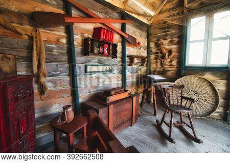 Popeye Village / Malta - 21 September 2020: Interior Of Old Wooden Fisherman's Beach Hut With Antiqu