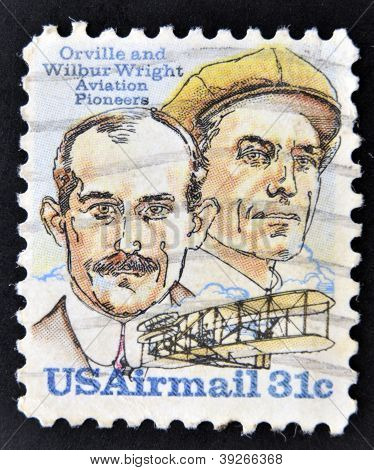 A Stamp shows image of the brothers Orville and Wilbur Wright - American aviation pioneers