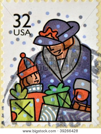 UNITED STATES OF AMERICA - CIRCA 1996: A stamp printed in USA dedicated to Christmas shows holiday s