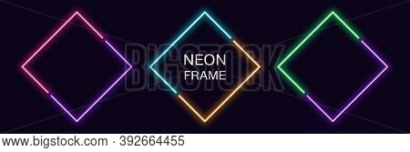 Neon Rhomb Frame. Set Of Rhombus Neon Border In 2 Diagonal Parts. Geometric Shape With Copy Space, F