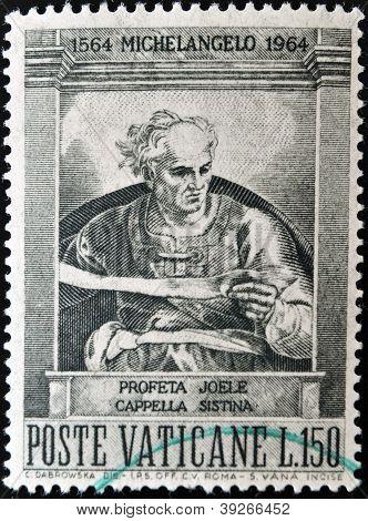 A stamp printed in Vatican shows prophet Joel painted in the Sistine Chapel by Michelangelo