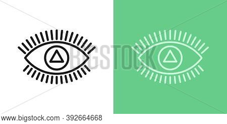 Outline Magic Eye Icon With Editable Stroke. Linear Eye Sign With Triangular Iris, Spiritual Vision.