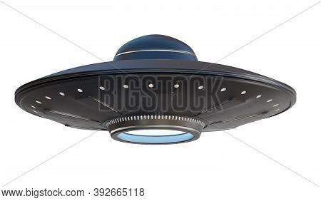 Ufo Alien Spaceship Isolated On White Background. 3d Rendered Illustration.