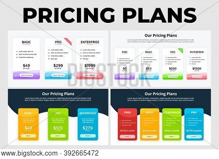 Pricing Plans Infographics. Templates For Your Business Presentation. Marketing Financial Concept Wi