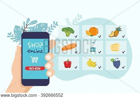 Hand Holds Phone. Shop, Supermarket Online. Selection Of Products. Food Delivery. Flat Style. Vector