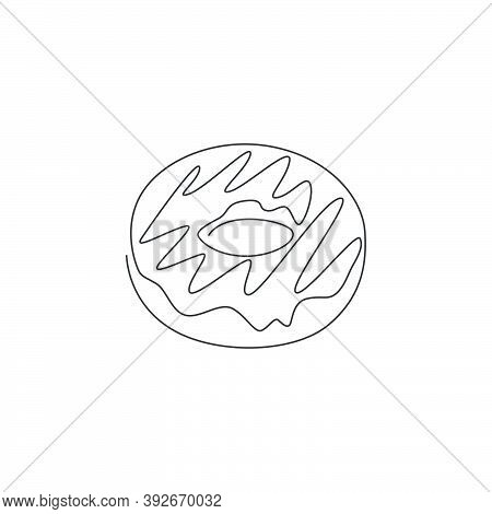 One Single Line Drawing Of Fresh Sweet Donuts Store Logo Vector Graphic Illustration. Doughnut Fast