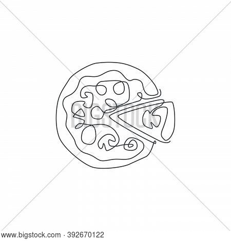 One Single Line Drawing Of Fresh Italian Pizzeria Logo Vector Graphic Art Illustration. Fast Food Pi