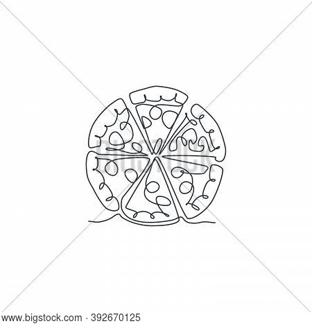 One Continuous Line Drawing Of Fresh Delicious Italy Pizza Restaurant Logo Badge. Fast Food Italian