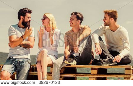 Always Happy Together. Happy Men And Girl Relax. Best Friends. Summer Vacation. Diverse Young People
