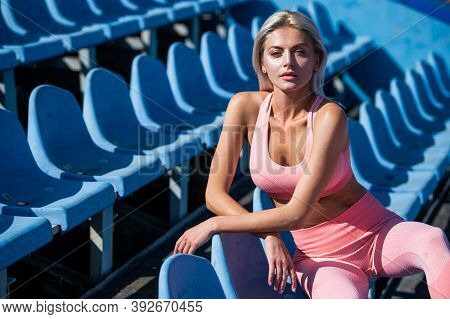 Confident In Fitness Regime. Training And Workout. Athletic Female Coach. Woman Sport Trainer. Healt