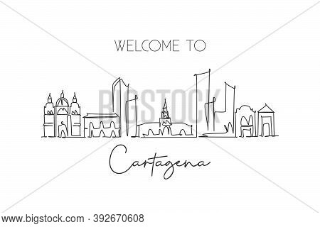 Single Continuous Line Drawing Of Cartagena Skyline, Colombia. Famous City Scraper Landscape Postcar