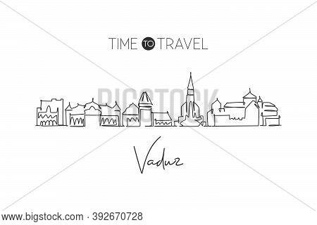 One Single Line Drawing Of Vaduz City Skyline, Liechtenstein. World Town Landscape Postcard. Best Pl
