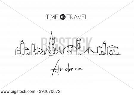 One Continuous Line Drawing Of Andorra La Vella City Skyline. Beautiful Landmark Postcard. World Lan