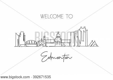 One Single Line Drawing Of Edmonton City Skyline, Canada. World Historical Town Landscape. Best Plac