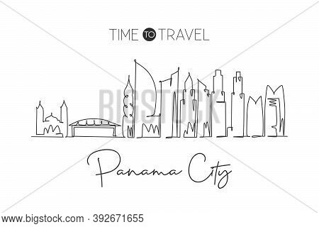 Single Continuous Line Drawing Panama City Skyline, Panama. Famous City Scraper Landscape. World Tra