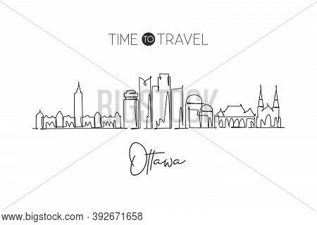One Single Line Drawing Ottawa City Skyline Canada. World Historical Town Landscape Home Decor Wall