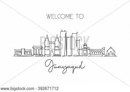 One Single Line Drawing Guayaquil City Skyline, Ecuador. World Historical Town Landscape Wall Decor
