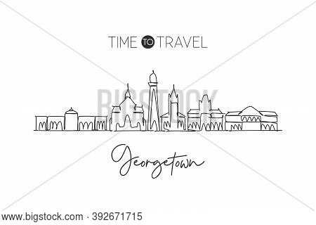 One Continuous Line Drawing Of Georgetown City Skyline, Guyana. Beautiful Landmark Home Wall Decor P