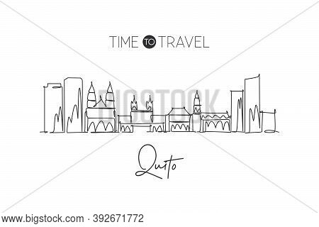Single Continuous Line Drawing Of Quito City Skyline, Ecuador. Famous City Scraper And Landscape. Wo