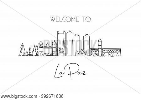 Single Continuous Line Drawing Of La Paz City Skyline, Bolivia. Famous City Scraper And Landscape. W