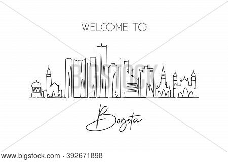 One Single Line Drawing Bogota City Skyline, Colombia. World Historical Town Landscape Postcard. Bes