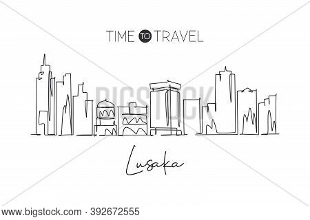 One Continuous Line Drawing Of Lusaka Skyline, Zambia. Beautiful City Landmark. World Landscape Tour