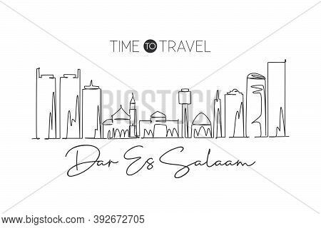 One Single Line Drawing Of Dar Es Salaam City Skyline, Tanzania. Historical Place Landscape Postcard