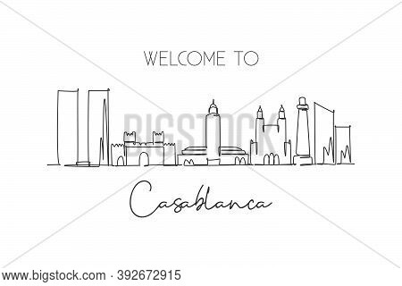 One Continuous Line Drawing Of Casablanca City Skyline, Morocco. Beautiful Landmark Wall Decor Poste