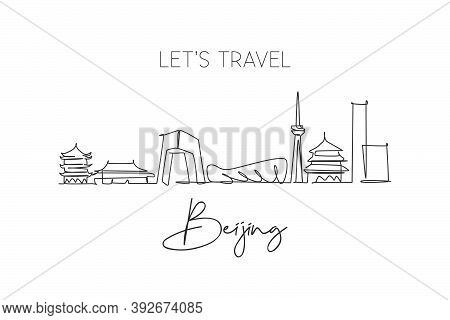 One Continuous Line Drawing Of Beijing City Skyline, China. Beautiful Landmark. World Landscape Tour