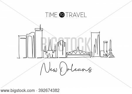 One Single Line Drawing Of New Orleans City Skyline, Louisiana. Historical Town Landscape In The Wor