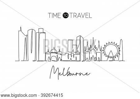 Single Continuous Line Drawing Of Melbourne City Skyline, Australia. Famous City Landscape. World Tr