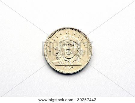 Cuban peso coin with portrait of ernesto che guevara