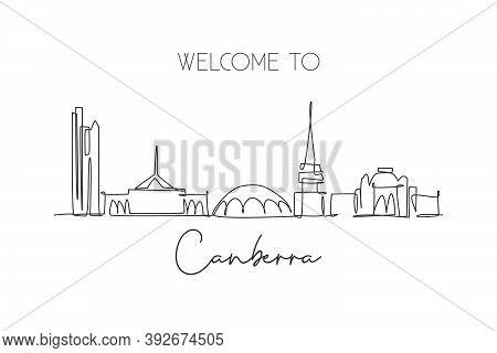 One Single Line Drawing Canberra City Skyline, Australia. Historical Town Landscape. Best Holiday De